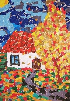 Рваная аппликация из цветной бумаги на тему осень